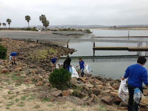 Best Buy employees out at an Adopt-A-Beach cleanup