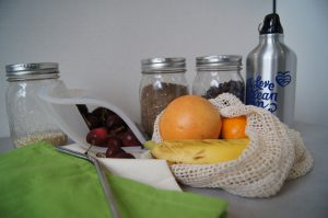 Always prepare to shop smart with reusable bags and jars for buying in bulk!