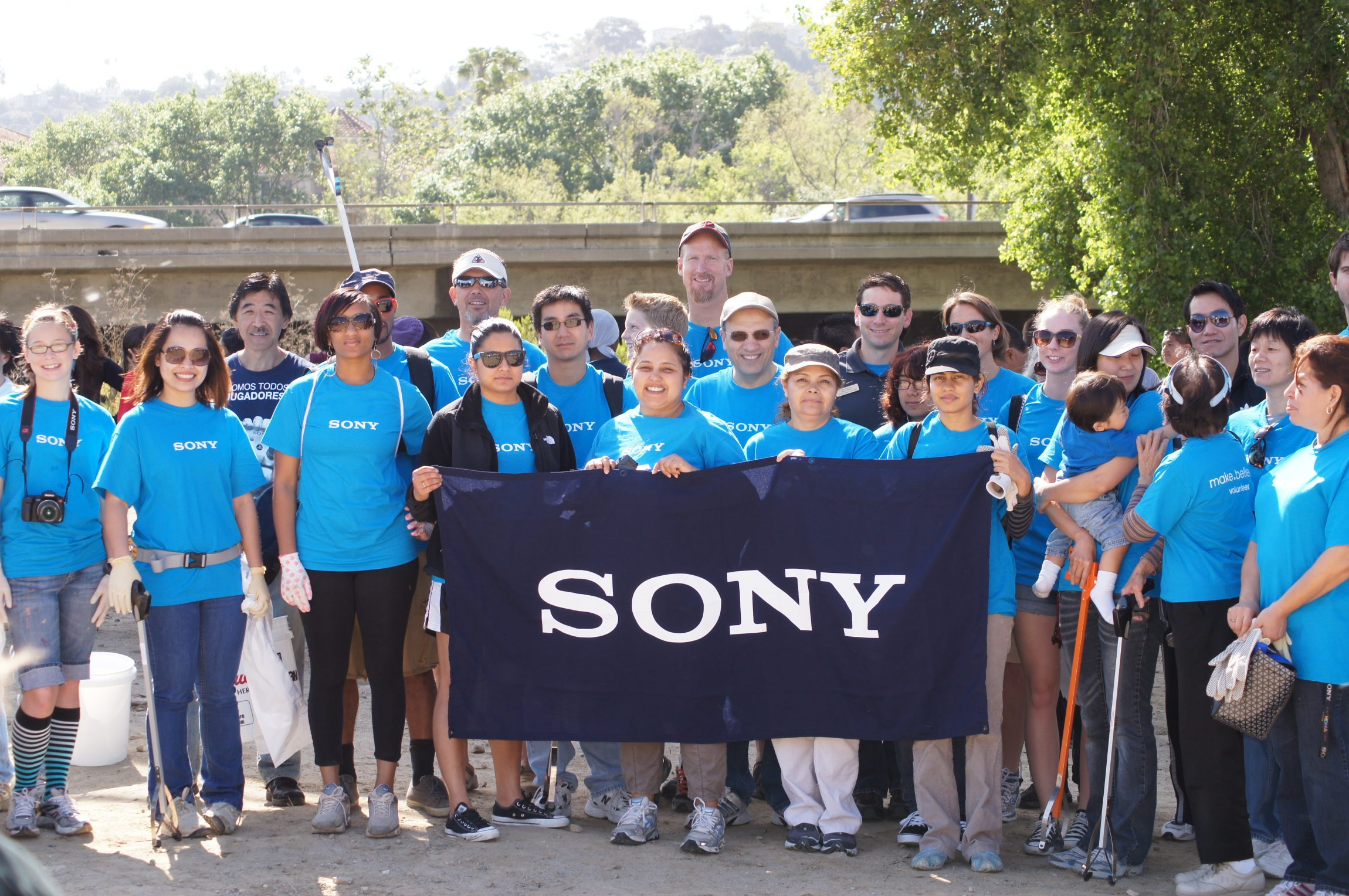 Sony employees volunteering for our Creek to Bay cleanup