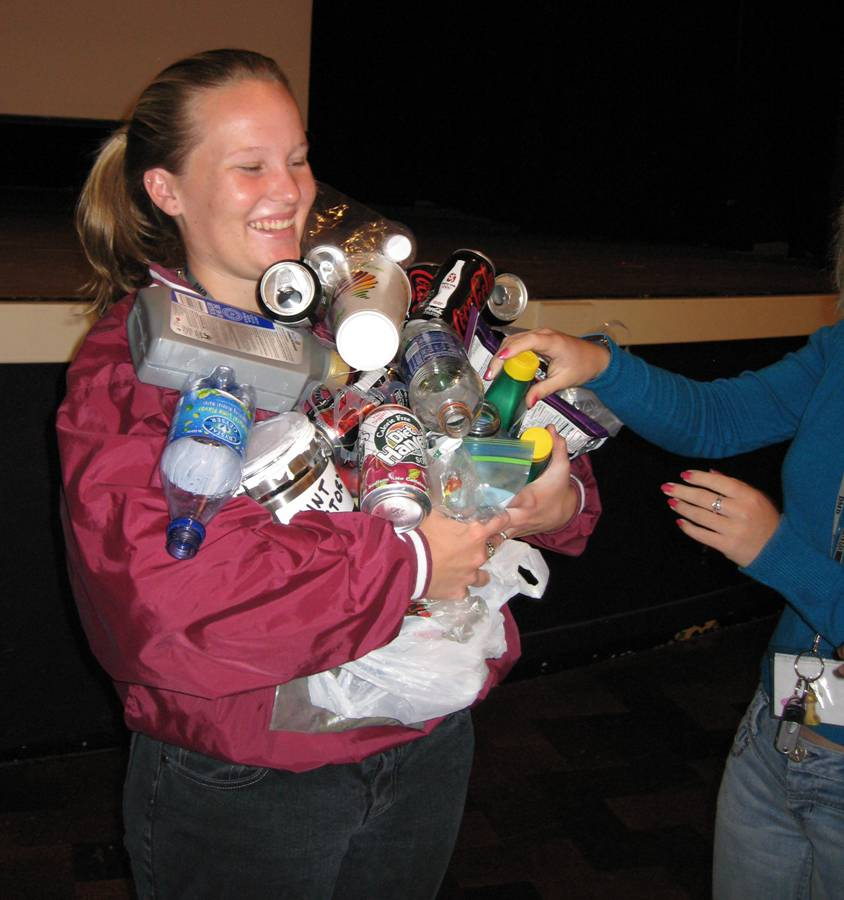 A High School Watershed Presentation student learning the hard way about litter!
