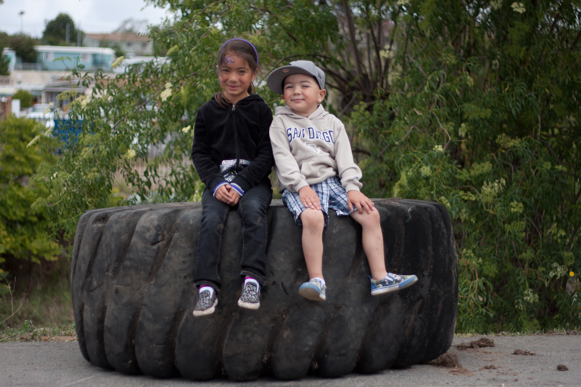 Two volunteers pulled this tractor tire out of Chollas Creek, though maybe with a little help…